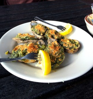 Oysters Rockefeller c/o Angelo and Son's, Panacea, FL. Read the Yelp review :)