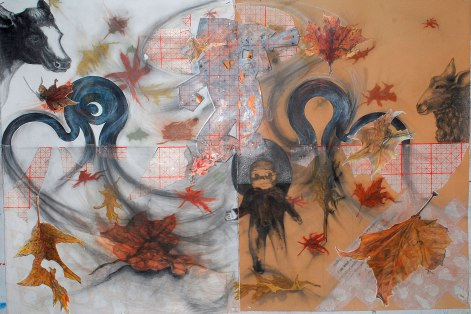 Tom-and-Betty-Connect-the-dots-blue-is-blowing-up-a-storm-38'X48'-framed-mixed-graphite-rice-paper-ink-jet-colored-pencil-collage-2014