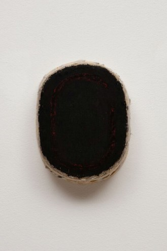 black_oval_with_red_line__oil_on_linen__11.5x8.75x3