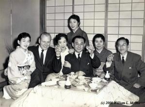 Bill McGee (2nd from left) at a Tokyo nightclub with Mitsubishi executives, 1955.