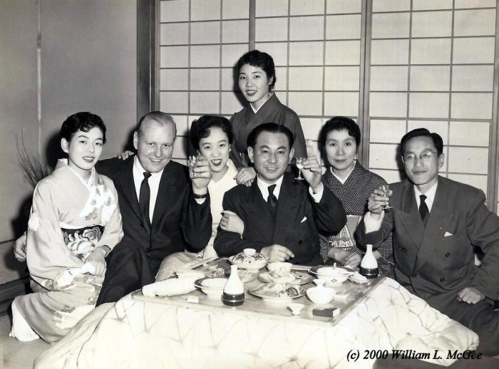 Bill McGee with Mitsubishi executives at a Tokyo nightclub, 1955