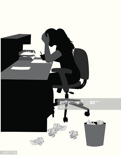 Silhouette of writer at desk