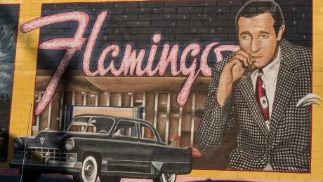 Postcard of Flamingo Hotel and Bugsy Siegal