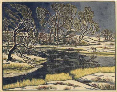 Childe Rowland (colour wood engraving, Gwen Raverat)