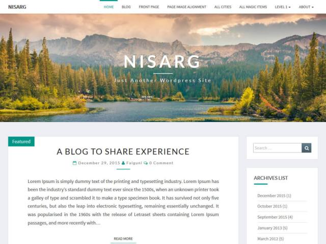 free wordpress blog theme nisarg