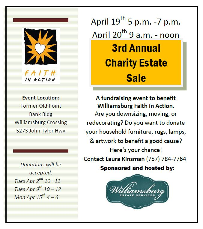 2013 Faith In Action Charity Estate Sale Flyer