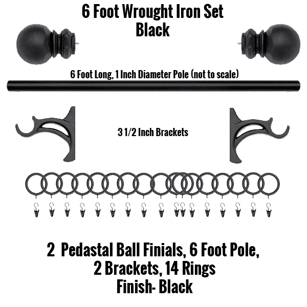 6 Foot Wrought Iron Curtain Rod And Finial Set Williams Drapery Kirsch Hardware And Wooden Curtain Rods