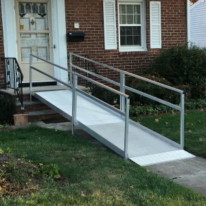 installation of front door wheelchair ramp done by Williams Lifts and Ramps