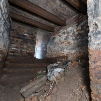 Rarely-opened room under the house, with large sandstone steps.