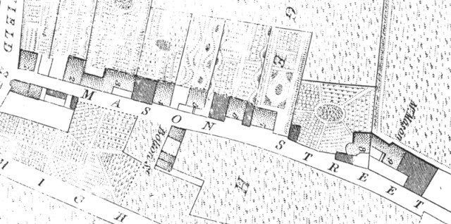 Mason Street in 1803. Note the ornate gardens behind each house.