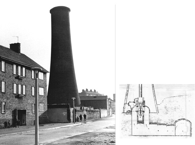 The huge railway vent chimney in the 1960s, with a diagram of its location on top of one of Williamson's tunnels.