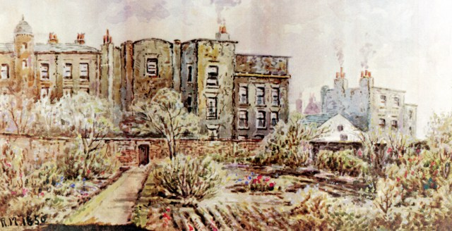 A naive painting but very informative: an 1800s view of the gardens behind Mason Street