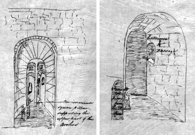 Two of James Stonehouse's sketches, drawn as he explored the tunnels in 1845