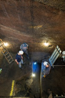 Looking down from the Scaffoling tower, showing the Trench and the New Tunnel in the wall of the Banqueting Hall.