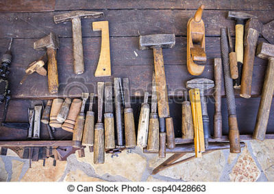 vintage-woodworking-tools-on-a-wooden-stock-image_csp40428663