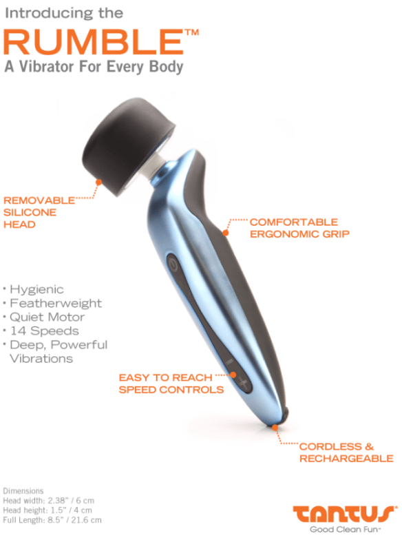 Features with Tantus Rumble Tantus Rumble from Williams Trading Co.