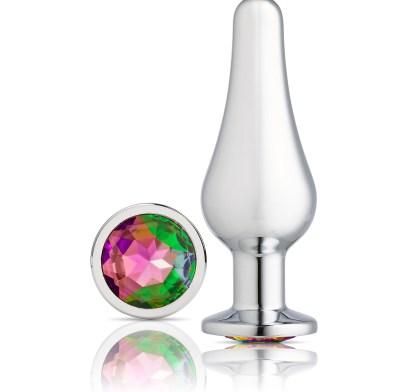 Jeweled Silver Chromed Tall Anal Plug