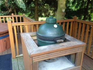 Decking area comes complete with 'Green egg' BBQ