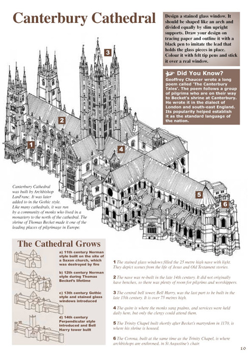 Research, writing, design and illustration for a series of children's activity books, Colour Heroes, cathedral aerial view - graphic pen
