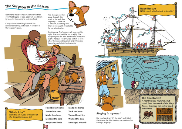 Research, illustration, layout design and activity ideas for Mary Rose children's activity book, Colour Heroes - InDesign, pen & ink, Photoshop