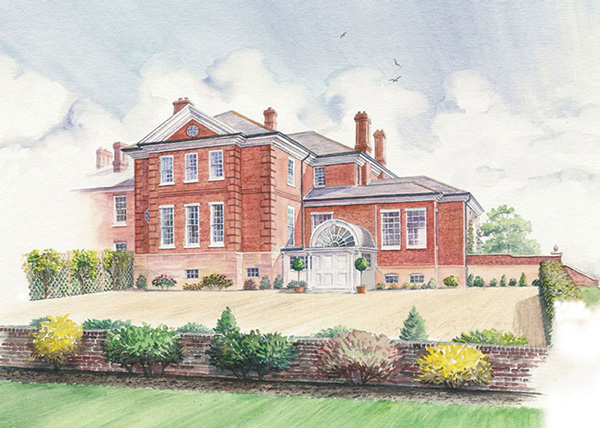 Illustration of property development for Savills Estate Agents - watercolour