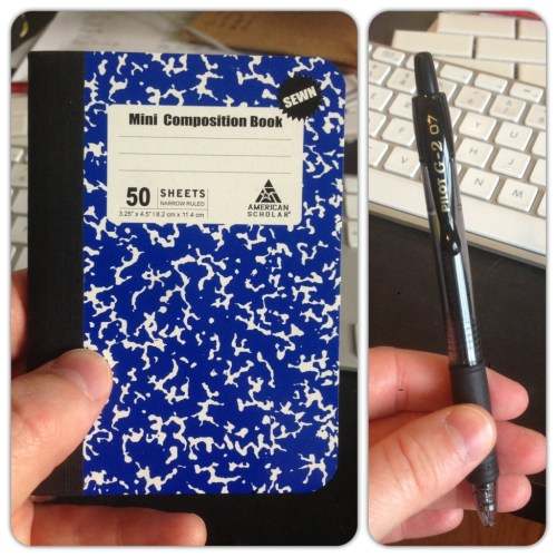 minit composition notebook and pilot pen