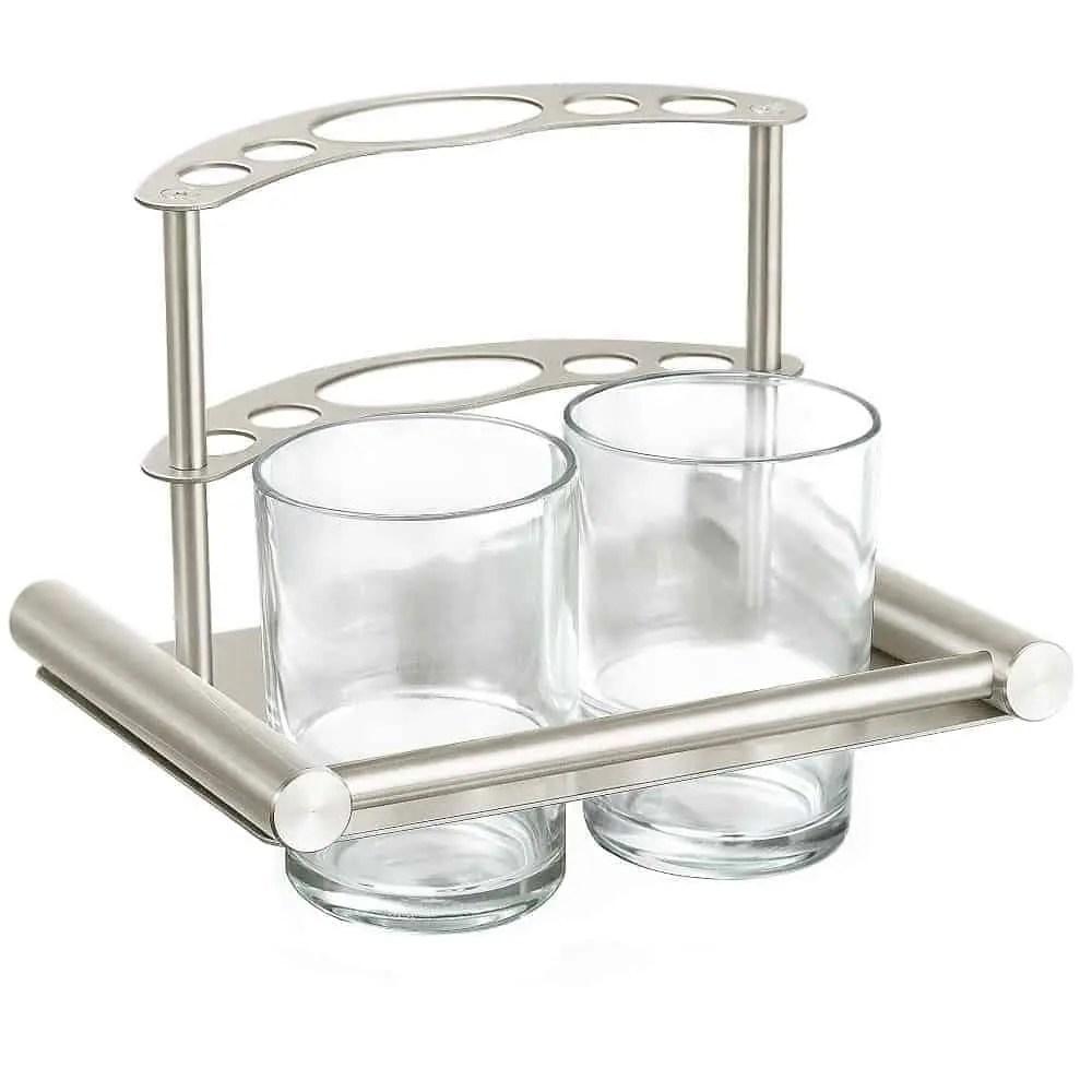 Glazen Plankjes Voor Aan De Muur.Williejan Bekerhouder Hi 2595b Tandenborstelhouder Met 2 Glazen