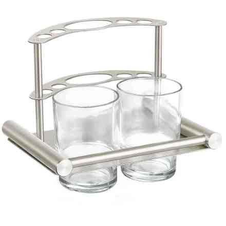 Tandenborstel houder mat RVS met 2 glazen