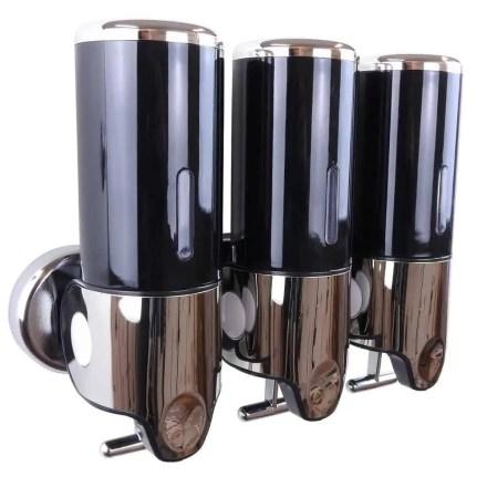 Triple zeepdispenser zwart met chroom 3 x 400 ml