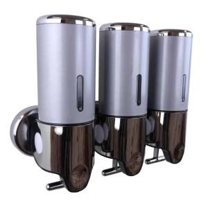 Triple zeepdispenser grijs met chroom 3 x 400 ml