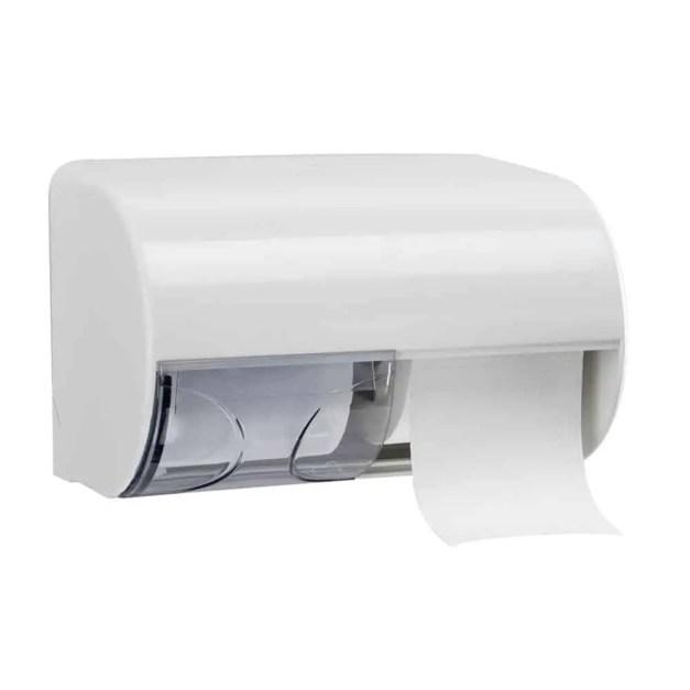 Marplast Duo Toiletrol houder A75501 - wit - voor 2 rollen traditioneel toiletpapier - afsluitbaar - met schuifje