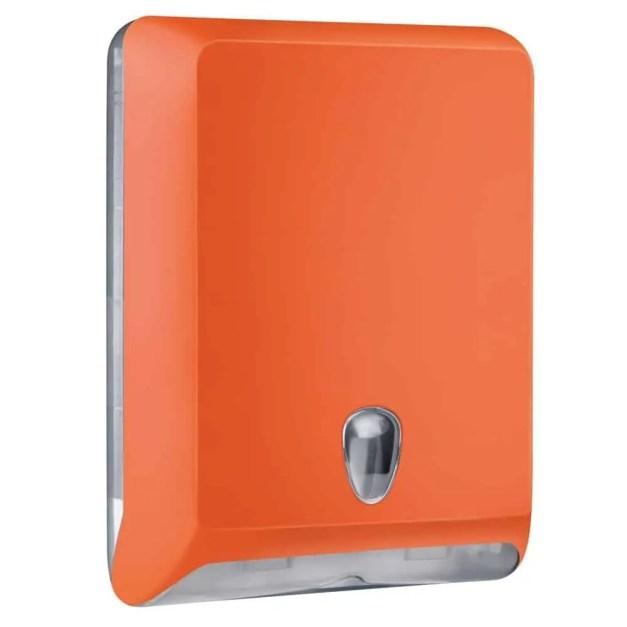 Marplast papieren handdoekjes dispenser A83010EAR - Oranje - capaciteit - 600 vel - voor Z, C en V gevouwen handdoekjes