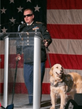 Sgt. David R. Denhardt (with service dog, Tank)