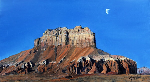 Waning moon at Wildhorse Butte 22 x 12 $35