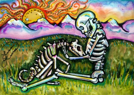 Day of the Dead Skeleton Dog by Lisa Luree