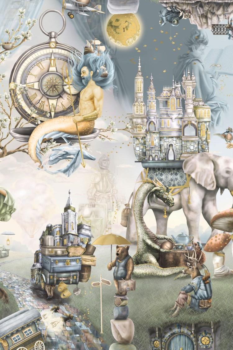 Custom Boys Fairytale Interior Wallpaper Mural dragon knight sea ocean