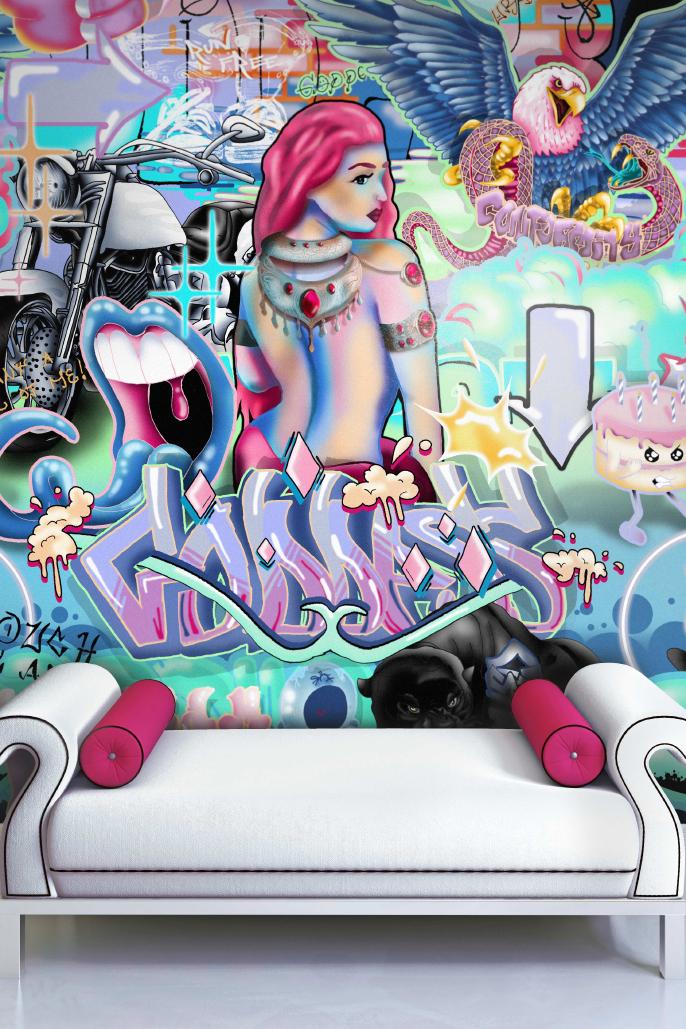 Pop Art Graffiti Girls Fashion Show Room Interior Wallpaper Neon Pastel Colours