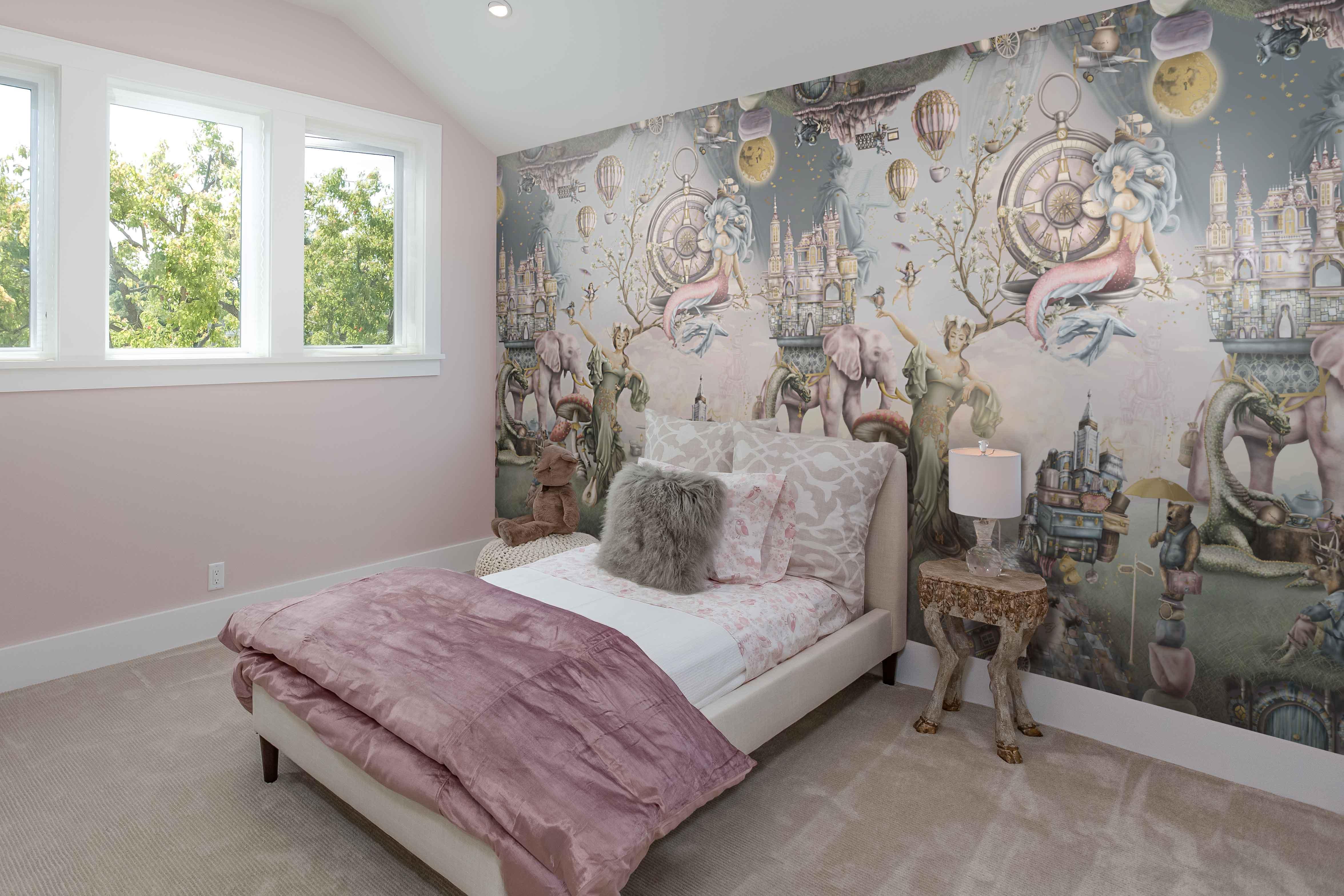 Custom fairytale wall mural wallpaper for a girls bedroom