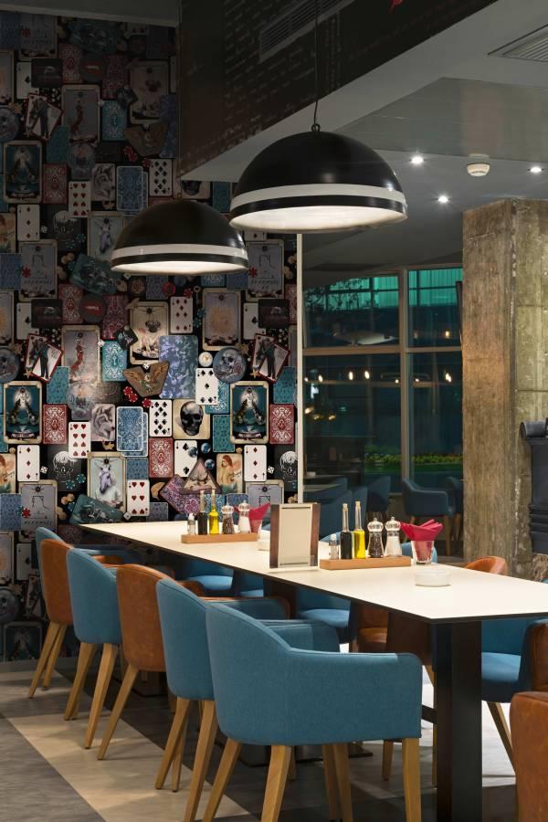 Funky wallpaper set in a restaurant