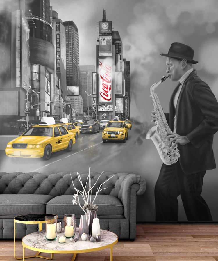 This is a custom New York Times Square wall mural wallpaper from australia that features cabs (taxi's),Jazz Player and coca cola sign. Image shown as wall feature in lounge living room.