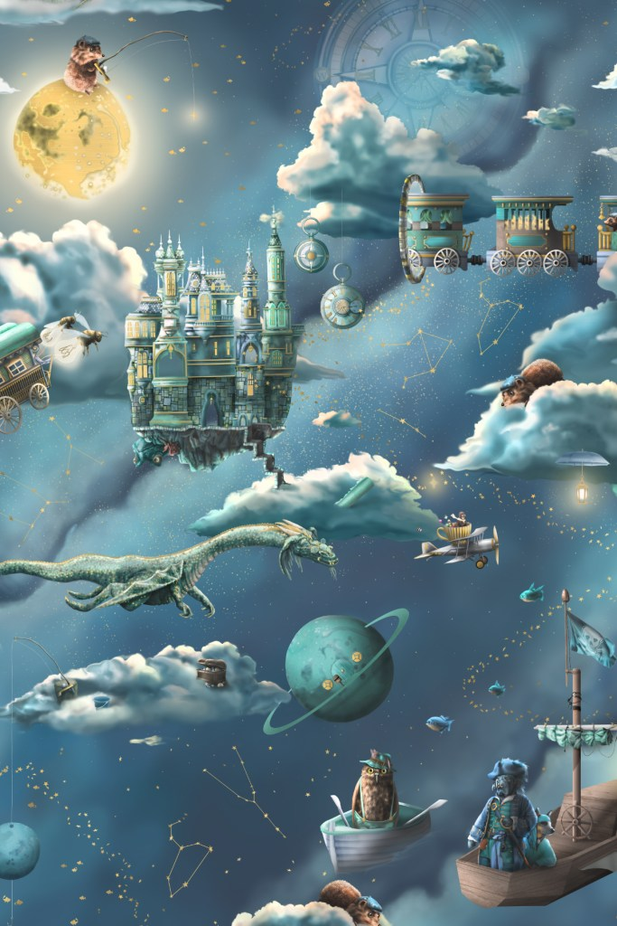 This is statement kids galaxy interior wallpaper wall mural design from Australia. It featurs the night sky, moon and space. It has amazing illustrations like a pirate ship, fishing theme, trains, castle, dragon, planes moon, compass, time and much more!