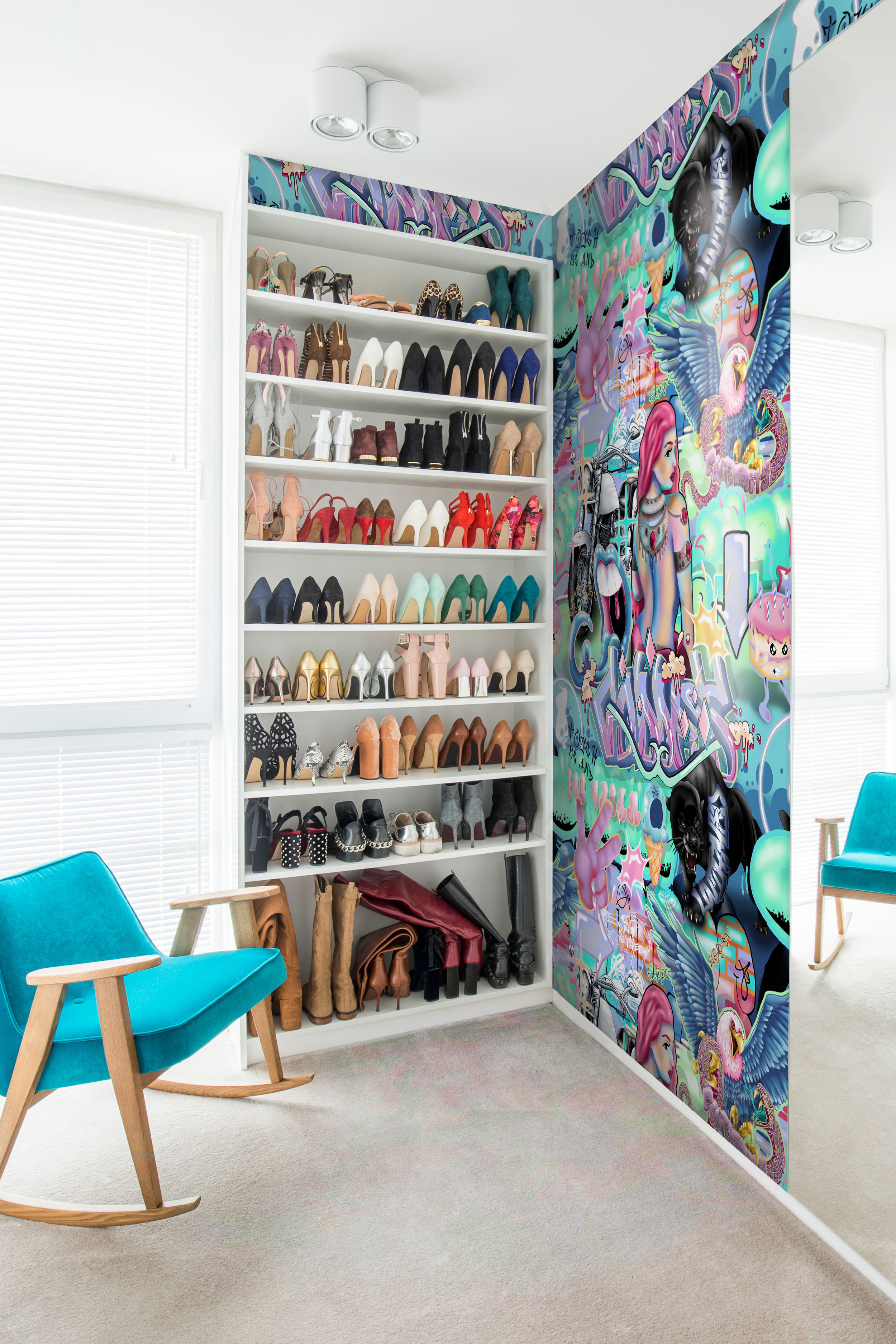 Wallpaper for walk in wardrobe, funky graffiti style. Vinyl luxury wallcovering from Sydney Australia. Colours of pop neon bright and colourful. Graffiti / teenage style with motorbike, rock n roll and funny slogans.