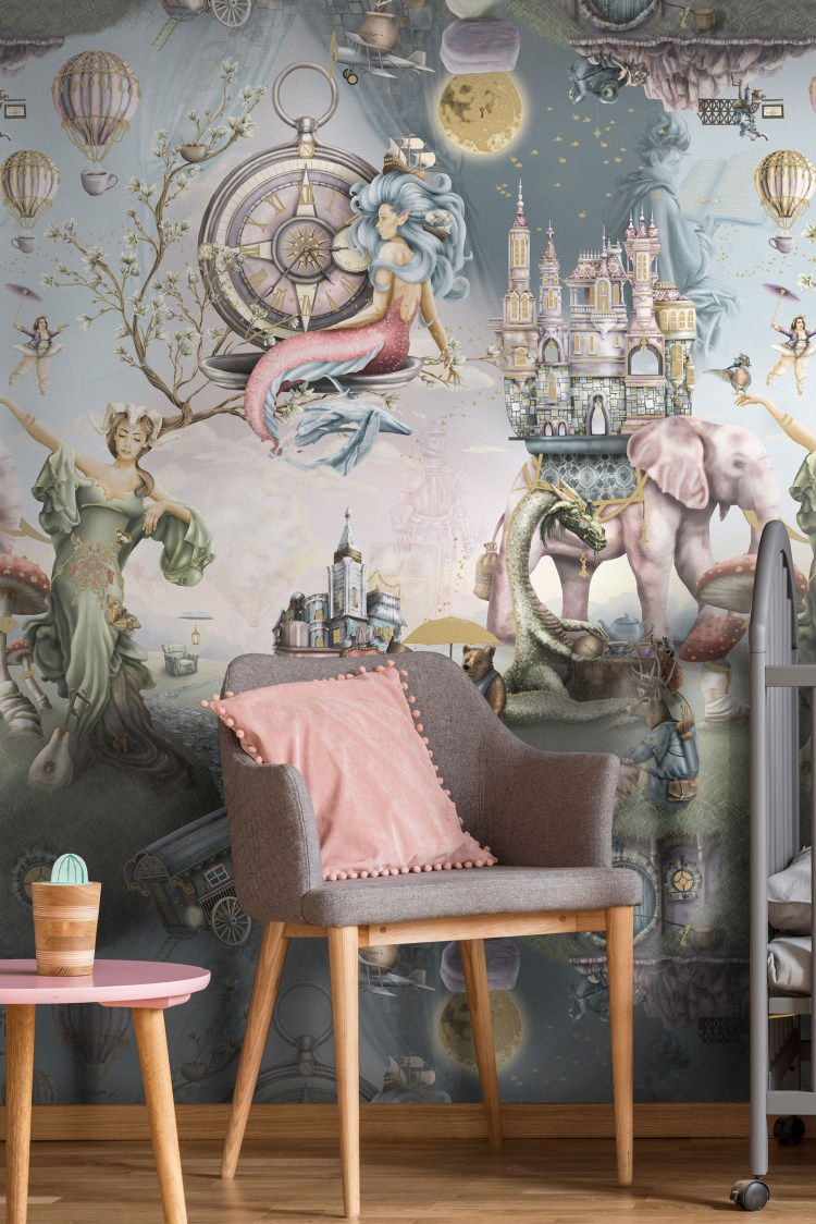 This is a Interior fairytale girls designer wallpaper wall mural. Designed and printed in Australia. Has story book illustrations like mermaid, elephant, dragon, castle, mother nature, ballerina, hot air balloons, sky, night, gypsy wagon and more! Styled here in a littles girls nursery or bedroom.