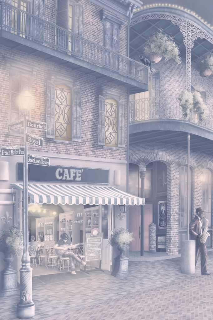 New Orleans Night Interior decorating wallpaper wall mural design. In soft colours of navy blue, purple, pink and yellow. Streets of New orleans at night with fairy lights, french cafe street lamp post lights and night sky.