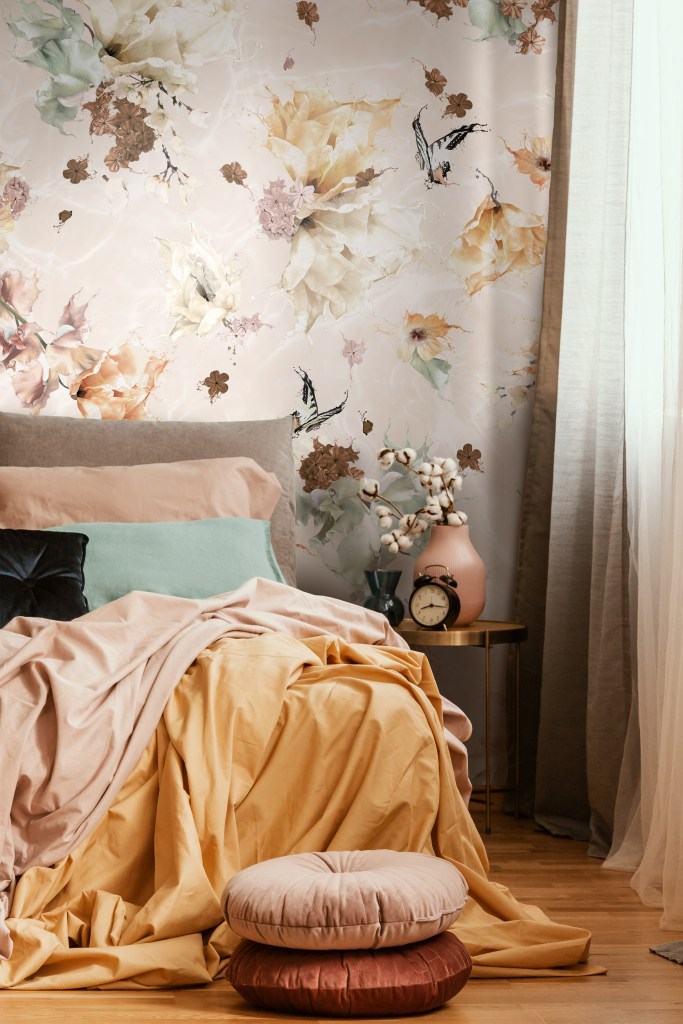 Earth tone and rustic colours Interior Wallpaper Design. Luxury wallpaper from Sydney Australia. Features flowers florals, butterflies, dragonflies with a unique and beautiful twist. Colours. Bedroom inspiration inspo picture.