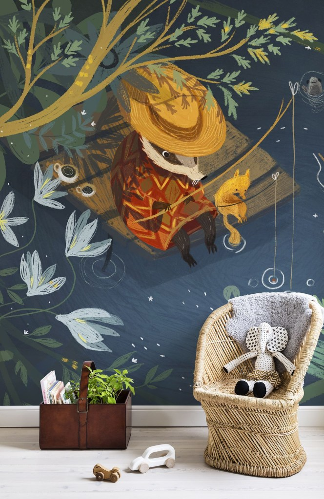 Summer Fishing illustration mural for kids wallpaper by photowall.com in colours of navy blue, mustard, gold