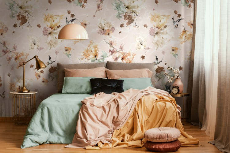 Custom wallpaper and murals Australia. Warm Earth Tone Rustic Bedroom Wallpaper with flowers, butterflies and dragonflies. In warm colours of brown, sage green, mustard yellow, orange, white. Wallpaper For Walls Australia