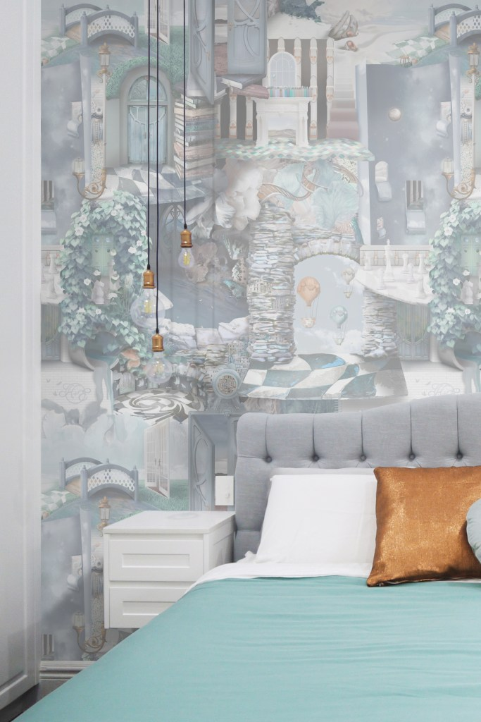 A stunning and unique designer statement interior decorating wallpaper wall mural inspired by Alice In Wonderland. Featuring stones, tiles, doors, florals, vines, books and more! In soft pastel grey blue colours of Heron grey, blue, turquoise, aqua, copper, grey tones