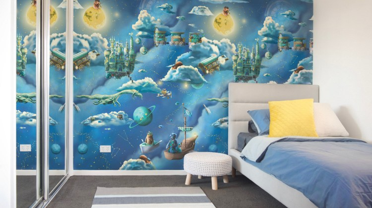 Custom wallpaper and murals Australia. Kids galaxy interior wallpaper design. Features a night sky space theme with moon, clouds, dragon, compass, fishing and fairy tale creatures.
