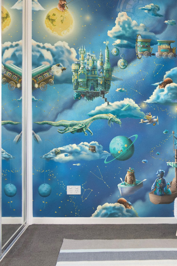 Kids boys galaxy interior wallpaper Wall mural Nursery design. Features a night sky space theme with stars, moon, clouds, dragon, compass, fishing and fairy tale creatures.